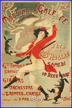 Affiche originale, Moulin de la Galette, Montmartre, Fête de la St-Hubert 1900's