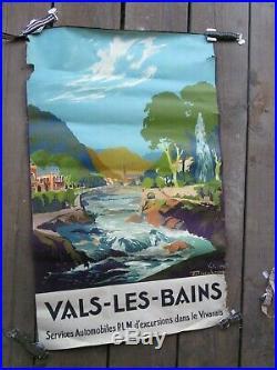 Affiche originale, PLM, VALS-LES-BAINS, Julien Lacaze 1930