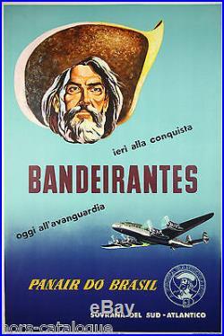 Affiche originale, Panair do Brasil Bandeirante aeroviària. Brésil