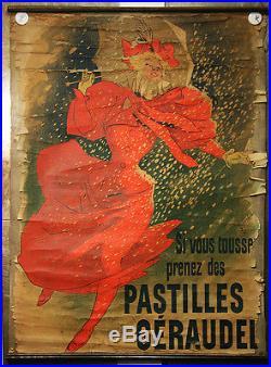 Affiche originale Pastilles Géraudel, par Cheret, 1895 entoilage ancien