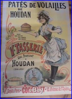 Affiche originale Pâtés de volailles de Houdan Tasserie 100 / 140 cms