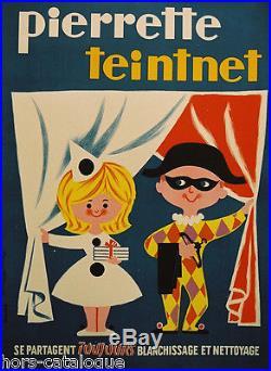 Affiche originale, Pierette Teintnet, blanchissage et nettoyage, lessive. Gimès