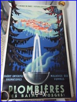 Affiche originale Plombieres les bains Senechal 1939 style art deco