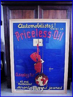 Affiche originale Poster ancien pour l' huile PRICELESS OIL Publicité Moteur