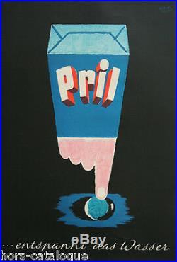 Affiche originale, Pril. Entspannt das Wasser. Par Herbert Leupin
