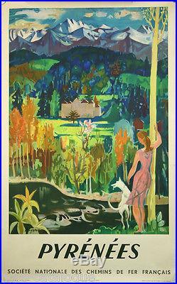 Affiche originale, Pyrénées SNCF, par Acyame, 1951. Imp. Paul Martial