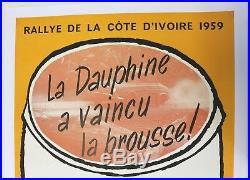 Affiche originale RENAULT DAUPHINE RALLYE COTE D'IVOIRE 1959 Gordini 1093 Ferry