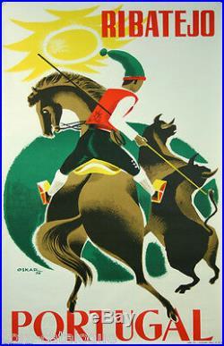 Affiche originale, Ribatejo Portugal, par Oskar, 1962, imp. Casa Portuguesa