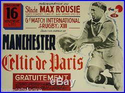 Affiche originale, Rugby à 13, Manchester vs Celtic de Paris. Stade Max Rousié