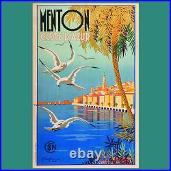 Affiche originale, SNCF Menton, côte d'Azur Beglia 1935