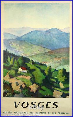 Affiche originale, SNCF Vosges, par Benito 1945, imp. Draeger. Tourisme france