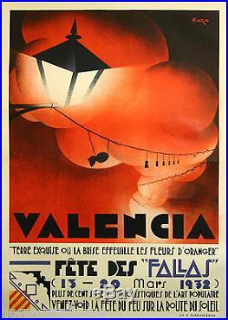 Affiche originale, Valencia, fete des Fallas. Par Raga, 1932