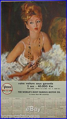 Affiche originale, Veedol motor oil, Calendrier 1964. Par Brenot. Pin-up