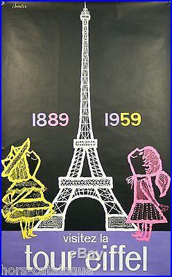 Affiche originale, Visitez la tour Eiffel, 1889-1959, par C. Broutin
