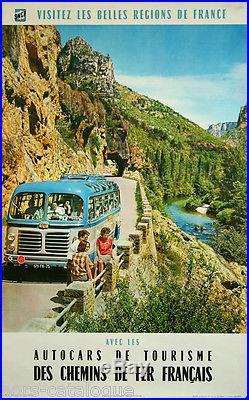 Affiche originale, Visitez les belles regions de France. Autocars tourisme 1963