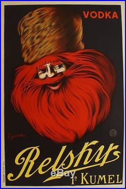 Affiche originale Vodka Relsky, 1910 Leonetto Cappiello 120 x 80 cm entoilée