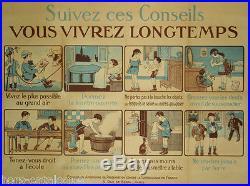Affiche originale WW1 Suivez ces conseils vous vivrez longtemps. Tuberculose