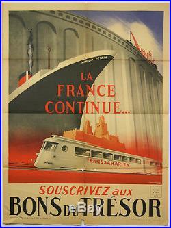 Affiche originale WWII La France continue Marechal Petain, 1942, par Falcucci