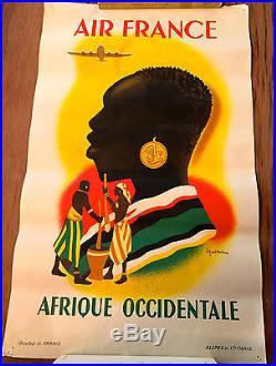 Affiche originale ancienne AIR FRANCE AFRIQUE OCCIDENTALE ALEPEE ET PARIS