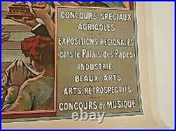 Affiche originale ancienne AVIGNON Chemins de Fer du Midi