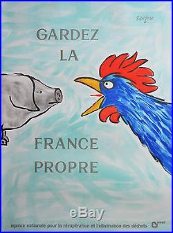 Affiche originale ancienne GARDEZ LA FRANCE PROPRE SAVIGNAC
