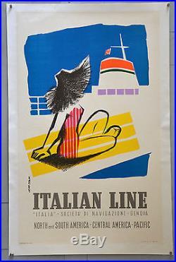 Affiche originale ancienne ITALIAN LINES Par Jean COLIN. 1957