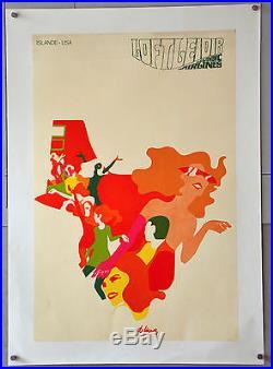 Affiche originale ancienne LOFTLEIDER ICELANDIC AIRLINES - ISLAND USA