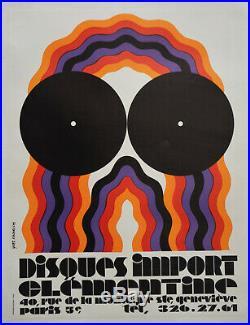 Affiche originale ancienne années 70 Disques import CLEMENTINE 60 x 80 cm