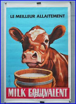 Affiche originale ancienne de 1958 MILK EQUIVALENT E Gaillard 92 x 62 cm
