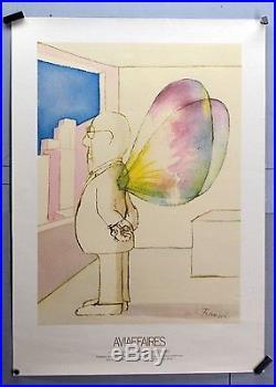 Affiche originale ancienne de 1973 AVIAFFAIRES Par André FRANCOIS