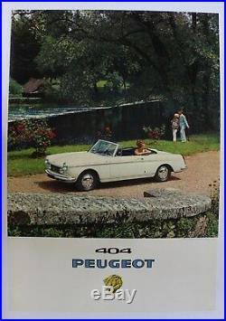 Affiche originale ancienne de concession garage PEUGEOT 404 CABRIOLET 203 403