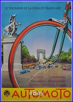 Affiche originale ancienne entoilée -AUTO MOTO ST ETIENNE 65 x 48 cm