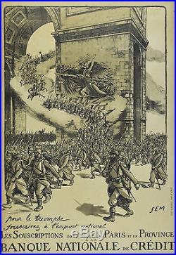 Affiche originale ancienne entoilée -BANQUE NATIONALE DE CRÉDIT Par SEM