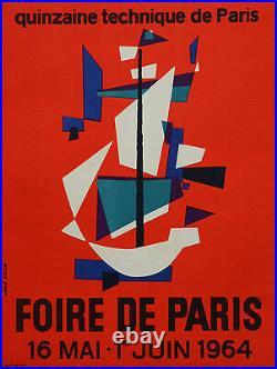 Affiche originale ancienne entoilée FOIRE DE PARIS 1964 jean Colin 49 x 37