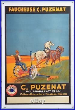 Affiche originale ancienne entoilée Faucheuses PUZENAT Années 20