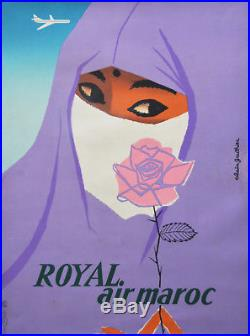 Affiche originale ancienne entoilée ROYAL AIR MAROC GAUTHIER 1959 -RARE