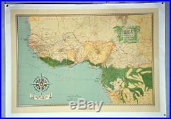 Affiche originale ancienne entoilée Société navale de l'ouest- Afrique