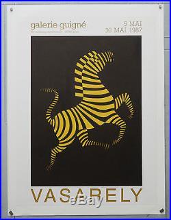 Affiche originale ancienne entoilée. VASARELY galerie GUIGN2 1987