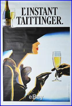 Affiche originale années 80 L'instant Taittinger Champagne 170 x 116 cm