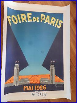 Affiche originale entoilée foire de Paris 1926 Commarmond art déco