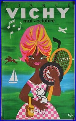 Affiche originale entoilée VICHY Par Lefor Openo 100 x 62 cm Années 60