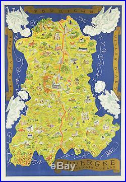 Affiche originale entoilée carte d' Auvergne Création Charles d' Antan