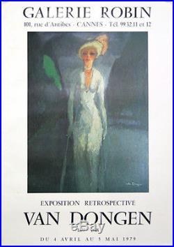 Affiche originale exposition Van Dongen Galerie Robin Cannes 1979. Femme blonde