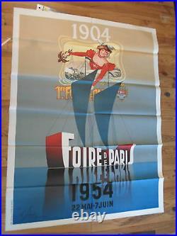 Affiche originale foire de Paris cinquantenaire 120 / 160 cms art nouveau 1954