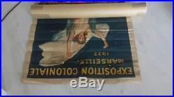 Affiche originale litho CAPPIELLO expo coloniale Marseille 1922 à entoiler