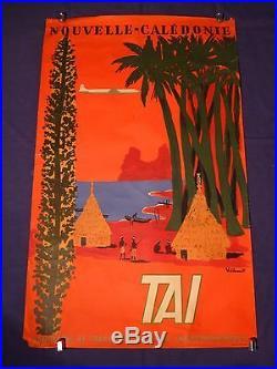 Affiche originale litho ancienne, TAI, NOUVELLE- CALEDONIE signée Villemot
