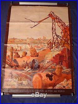 Affiche originale lithographiée 1920 CHEMIN DE FER DU NORD, LENS Julien LACAZE