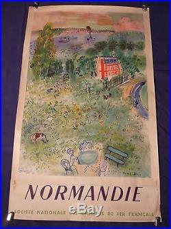 Affiche originale lithographiée NORMANDIE SNCF signée Raoul Dufy
