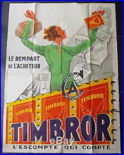 Affiche originale lithographiée ancienne 1930 signée DRANSY pour TIMBROR