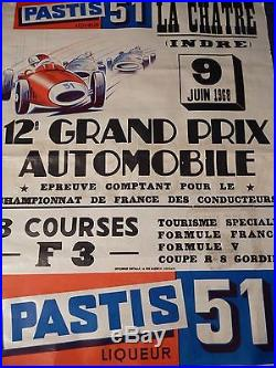 Affiche originale lithographiée 12e GRAND PRIX AUTOMOBILE LA CHATRE en Juin 1968